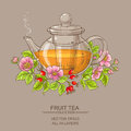 dog rose tea in teapot Royalty Free Stock Photo
