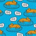 Dog on rug sleeps pattern. Home pet dream background