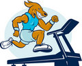 Dog running jogging tread mill Stock Image