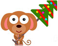 Dog s christmas tree an illustration of a cute carrying a Royalty Free Stock Photo