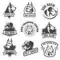 Dog shop, dog training center emblem templates isolated on white Royalty Free Stock Photo