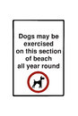 Dog sign dogs may be exercised on this section of beach all year around plate isolated on a white background Royalty Free Stock Images