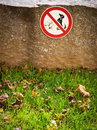 Dog sign dogs not allowed focus on the meadow in foreground Stock Images