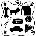 Dog stuff silhouettes assoted of the things dogs love a bone food steak cars etc Stock Photo