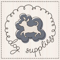 Dog supplies label calligraphic handwritten Royalty Free Stock Image
