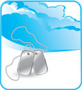 Dog tags on cloud background Royalty Free Stock Photos