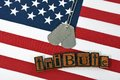 Dog tags on flag for military tribute Royalty Free Stock Photo