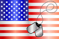 Dog tags on USA flag Stock Images
