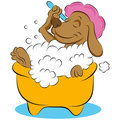 Dog Taking a Bubble Bath Stock Photo
