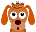 Dog ticks illustration of on the head of a Royalty Free Stock Photo
