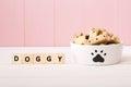 Dog treats on a white bowl Royalty Free Stock Photo