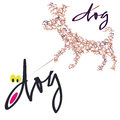 Dog for a walk logo graphical verbal symbolic image of dogs calligraphy means Stock Photography