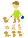 Dog walker and cat Stock Images
