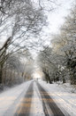 Dog walker crosses snow covered country lane distant Stock Photo