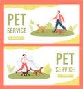 Dog Walker, Pet Service Flat Vector Web Banners