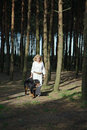 Dog walks with woman bernese mountain in summer pine forest Royalty Free Stock Image