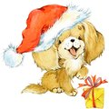 Dog year greeting card. cute cartoon puppy watercolor illustration.