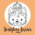 Dog, yorkshire Terrier Puppy head isolated and inscription. Vector illustration, design element for cards, banners Royalty Free Stock Photo