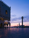 Doges Palace at dawn in Venice Stock Photo