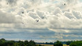 Dogfight battle of britain bf and spitfires engaged in on a dramatic autumn sky over the countryside Royalty Free Stock Photography