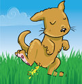 Doggy peeing on grass little cartoon Royalty Free Stock Photo