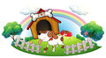 A doghouse inside the fence with a puppy illustration of on white background Stock Images