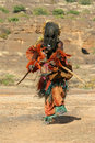 Dogon tribal dancer with mask Royalty Free Stock Images
