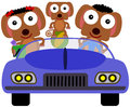 Dogs can drive a family made up of riding in a car Royalty Free Stock Image
