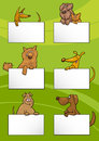 Dogs with cards cartoon design set illustration of cute or puppies white or boards greeting or business card Stock Image