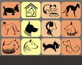 Dogs and cat silhouette icons Royalty Free Stock Image
