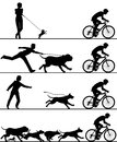 Dogs and cyclist four editable vector silhouettes of reacting to a passing with all elements as separate objects Stock Photos