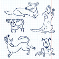 Dogs doodle cute set Royalty Free Stock Image
