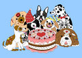 Dogs happy birthday party with big cake, hand drawn vector illustration