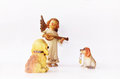 Dogs and little angel figure Royalty Free Stock Photo
