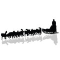 Dogs pulling a sled in black vector silhouette Royalty Free Stock Photo