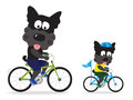 Dogs riding bikes illustration of two yorkie bicycles Stock Image