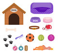 Dogs stuff icon set with accessories for pets, flat style, on white background. Puppy toy. Doghouse, collar