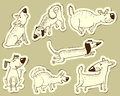 Dogs vector stickers with cute Stock Photo