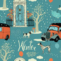 Dogs vintage cars snow and winter trees seamles seamless background calligraphy Stock Photo