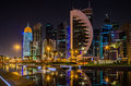 Doha city, Qatar at night Royalty Free Stock Photo
