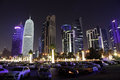 Doha downtown at night qatar al dafna middle east Stock Images