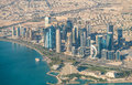 DOHA, QATAR - DECEMBER 12, 2016: Aerial view of city skyline. Do Royalty Free Stock Photo