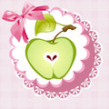 Doily apple alphabet the letter a on green napkin with a bow Royalty Free Stock Photo
