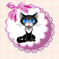 Doily cat black on a pink napkin with a bow Royalty Free Stock Image