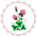 Doily with clover Royalty Free Stock Photos
