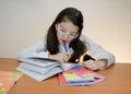 Doing homework smart girl her Stock Photography