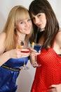 Dois amigos bonitos com cocktail Imagem de Stock