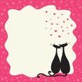 Dois gatos no amor em um frame retro Fotografia de Stock
