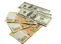 Dolars and hryvnia money many is dream of everbody rete Stock Images