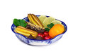 Dolci dolci frutta in un vaso dipinto nello stile del Fotografia Stock Libera da Diritti